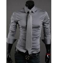 Вталена мъжка риза светло сива