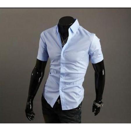 Светло синя риза с къс ръкав