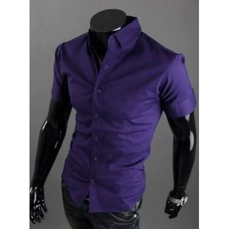 Мъжка риза с къс ръкав-тъмно лилава