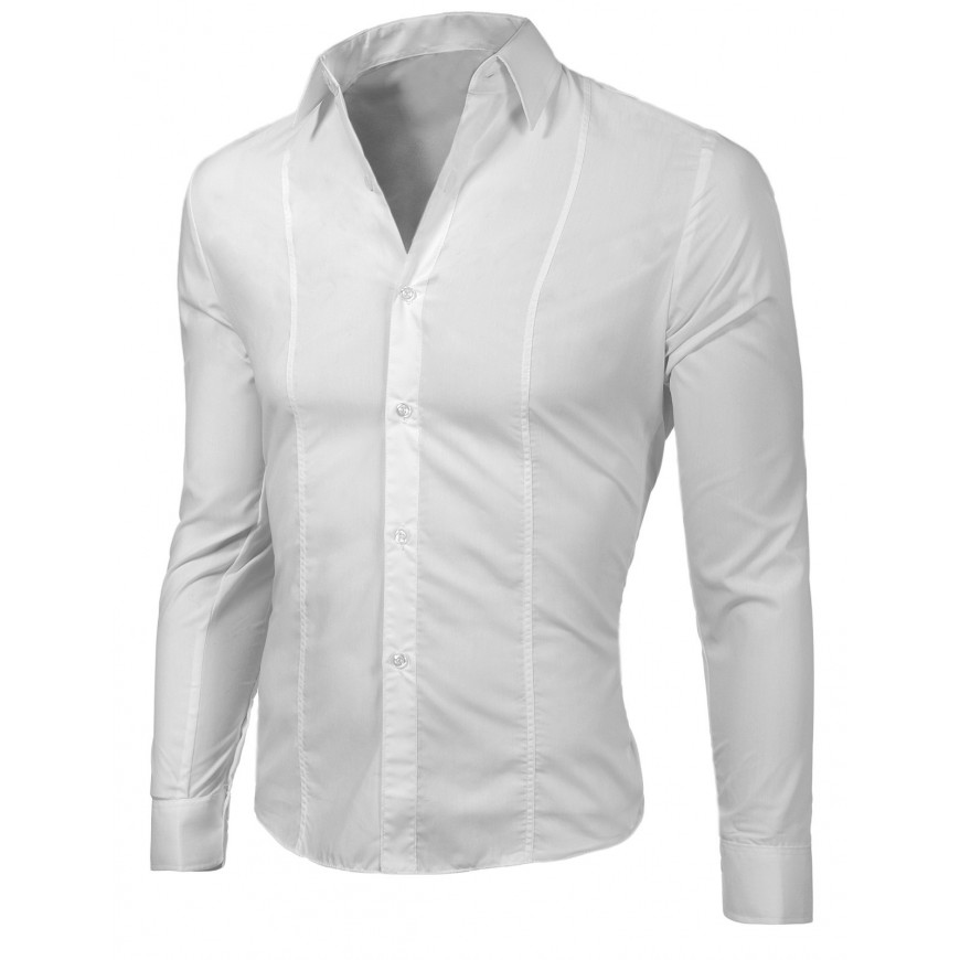 Camicetta camicia maglia maniche lunghe bianco  slim elegante  4637