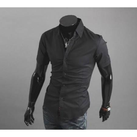 Черна риза с къс ръкав
