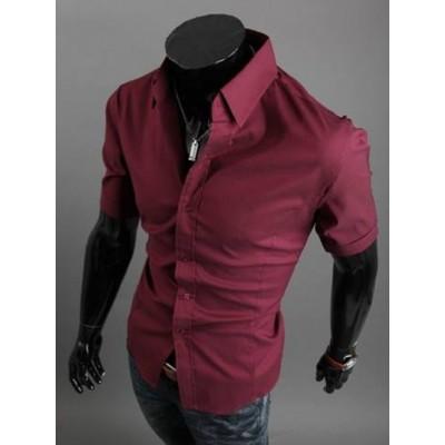 Риза бордо с къс ръкав