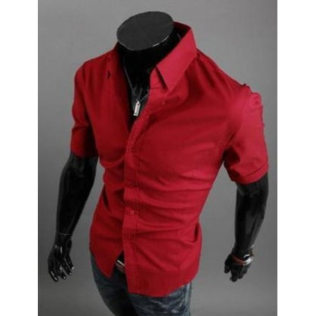 Червена риза с къс ръкав