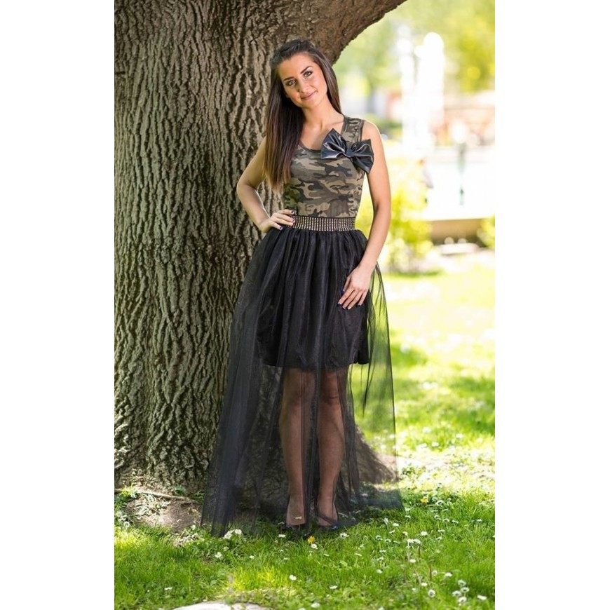 outlet store b6ee2 67187 Gonna lunga in tulle di cristallo